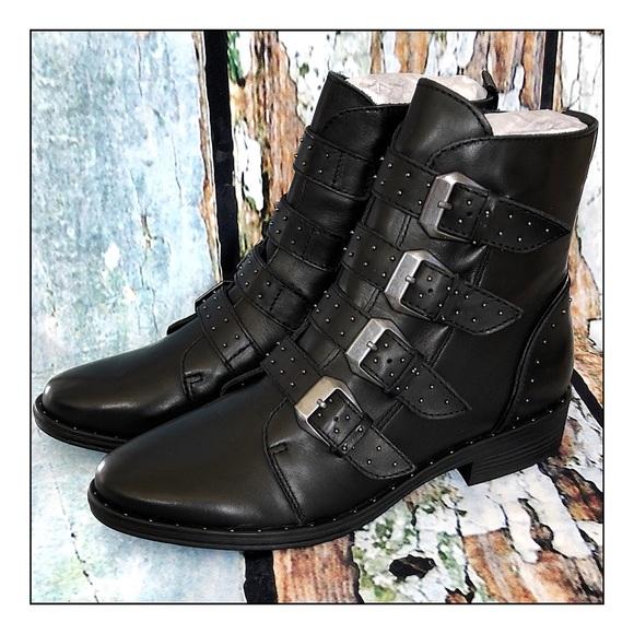 8ec2524d057 Steve Madden Leather Pursue Studded Moto Boots